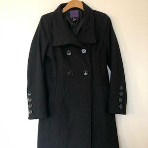 Double Breasted Long Black Coat